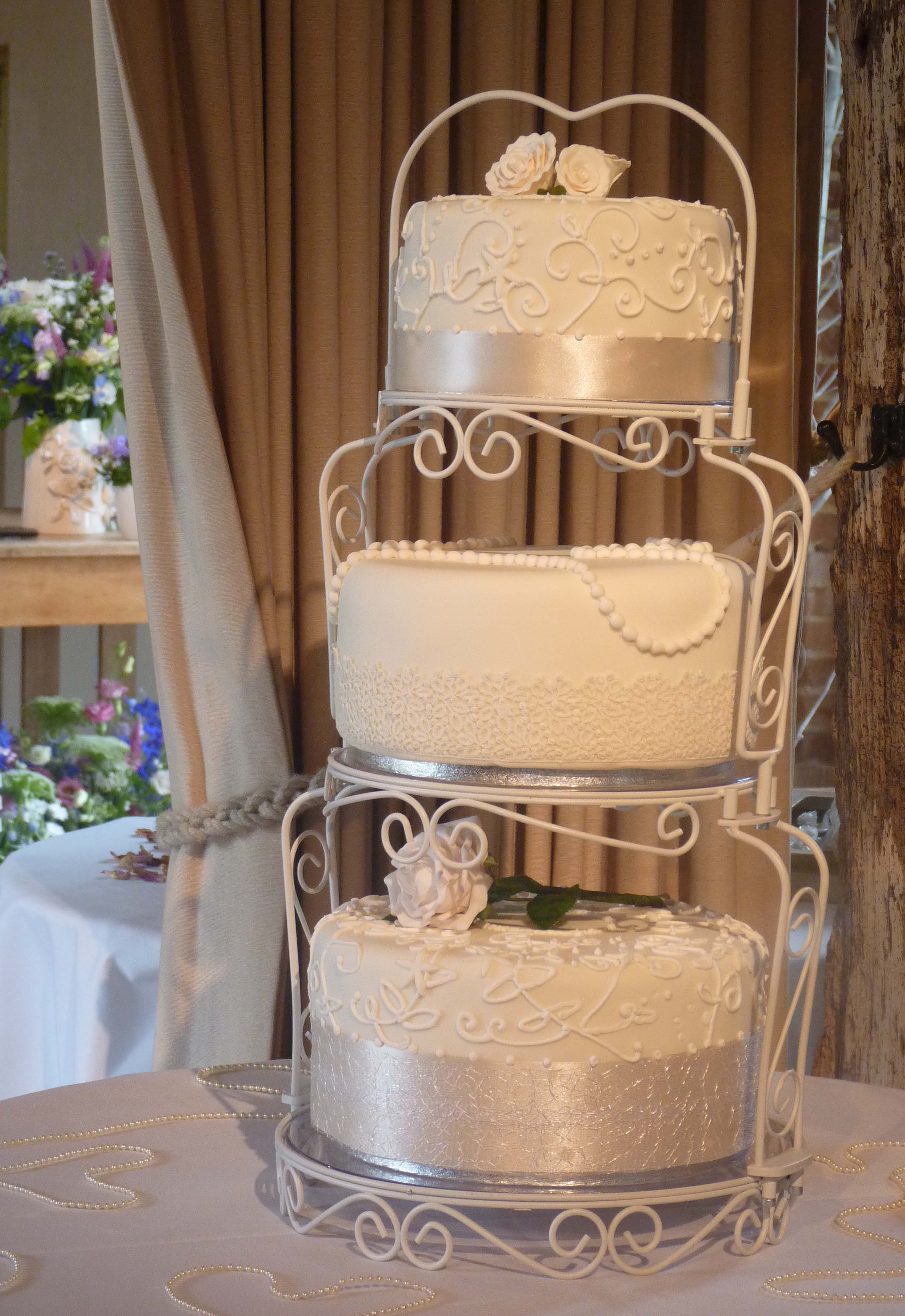 Vintage Style Lace And Pearls Wedding Cake In The Limelight At Bury Court