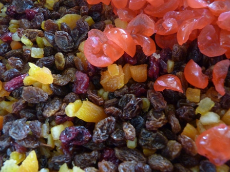 Colourful fruit... the heart of a fabulous Christmas cake!