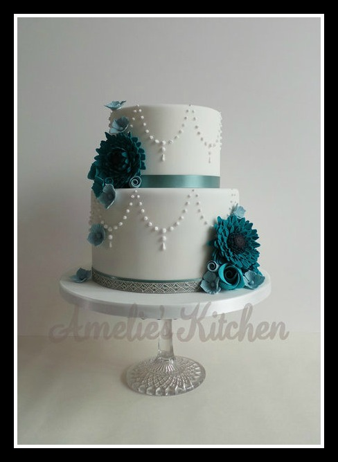 Amelies Kitchen Teal Wedding Cake