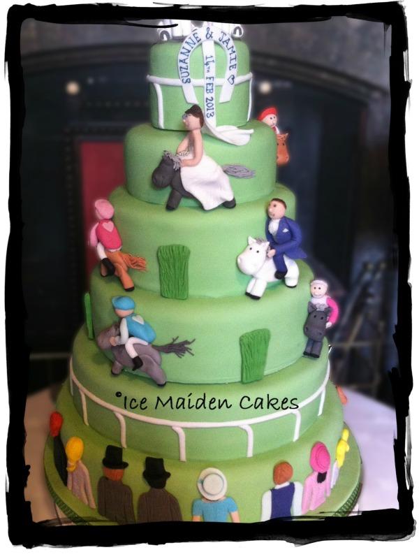 Horse Racing Themed Wedding Cake