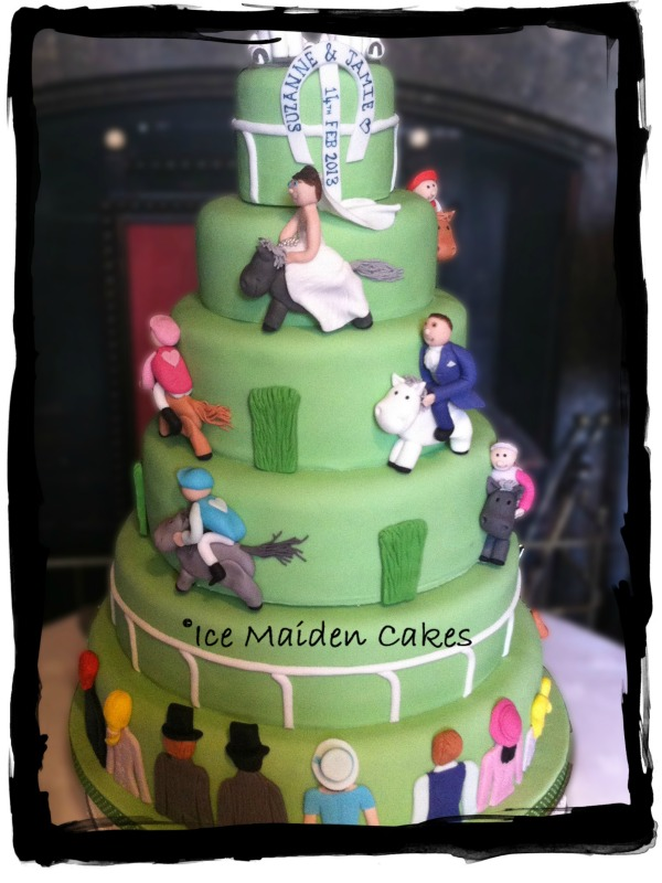 Horse Racing Themed Wedding Cake
